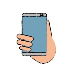 hand holds smartphone sms chat technology sketch vector image