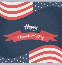 Happy memorial day flags banner blue background vector