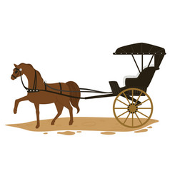 Horse pulling carriage transport in old times vector