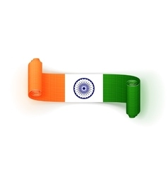 India flag on realistic curved textile ribbon vector
