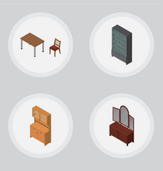 Isometric furnishing set of chair sideboard vector