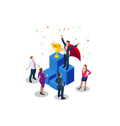 Isometric winner business and achievement concept vector