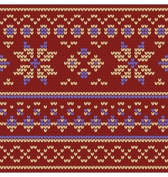 Knitted texture with floral pattern vector image