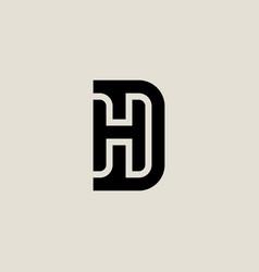 Letter d and h logo design minimalistic monogram vector