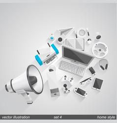 megaphone home style set 4 vector image