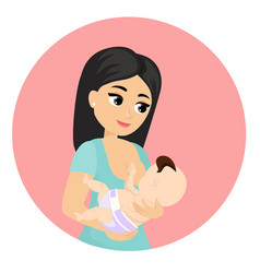 mother feeds baby with vector image