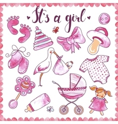Newborn Girl Hand Drawn Elements Set vector image