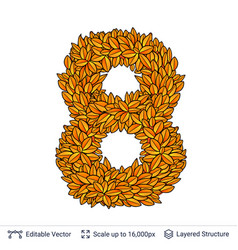 number eight of autumn leaves vector image