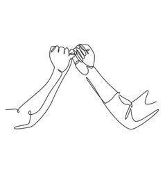 one line drawing two hands hook each other vector image