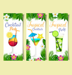 paper cut cocktail summer drink banner set vector image