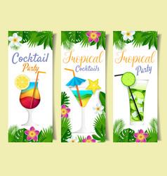 Paper cut cocktail summer drink banner set vector
