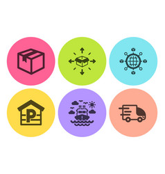 parcel logistics network and parcel delivery vector image
