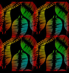 pattern of neon feathers and leaves on a black vector image