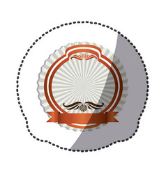 pink emblem with symbols inside icon vector image