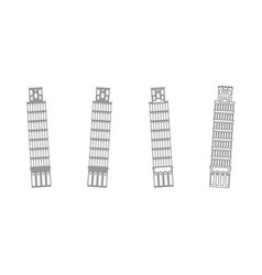 pisa tower grey set icon vector image