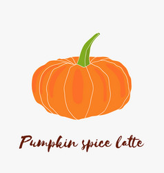 Pumpkin spice latte hand drawn logo with vector