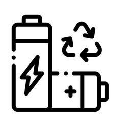 Recycling battery icon outline vector