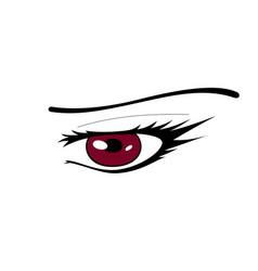 red manga eye vector image