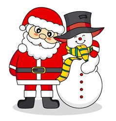 Santa Claus and snowman friends vector