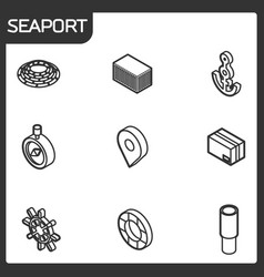 Seaport outline isometric icons vector