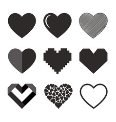 set of hearts icon vector image