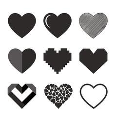 set of hearts icon vector image