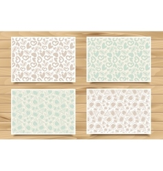 Set of seamless patterns on wood board vector