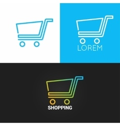 Shopping cart logo set background business market vector image