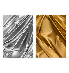 Silver and gold texture foil fabric 3d realistic vector