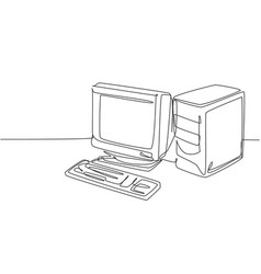 Single continuous line drawing retro old vector
