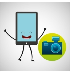Smartphone character and camera vintage photo vector