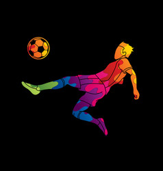 soccer player somersault kick overhead kick vector image