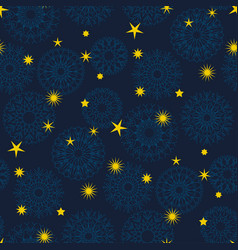 star and snowflakes simple seamless pattern vector image