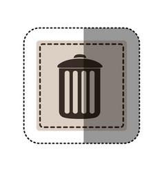 sticker monochrome square with trash container vector image
