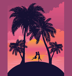 sunrise tropical island vector image