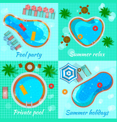 swimming pools top view concept vector image