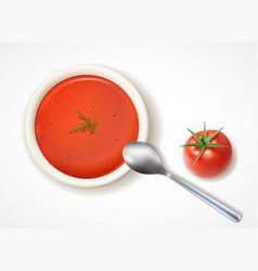 tomato soup realistic composition vector image