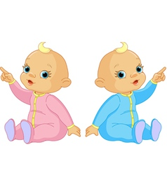 two adorable babies the girl and the boy pointing vector image vector image