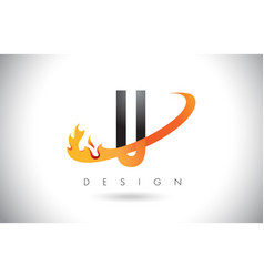 u letter logo with fire flames design and orange vector image