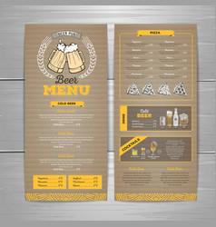 Vintage beer menu design on cardboard background vector