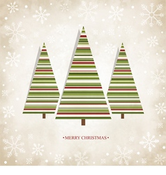 Vintage card with Christmas trees vector image