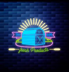 vintage farm emblem glowing neon vector image