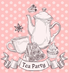 Vintage sweets and tea - tea party banner vector image