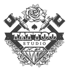 vintage tattoo salon logotype template vector image