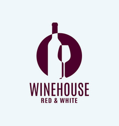 Wine bottle logo with wine glass on white vector