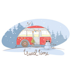 Winter travel in a house on wheels vector