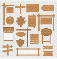 Wooden blank signboards vector