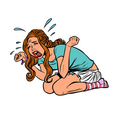 Young beautiful girl crying hysteria panic stress vector