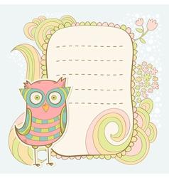 Cute cartoon owl stylish sticker card vector image vector image