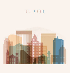 el paso state texas skyline detailed silhouette vector image